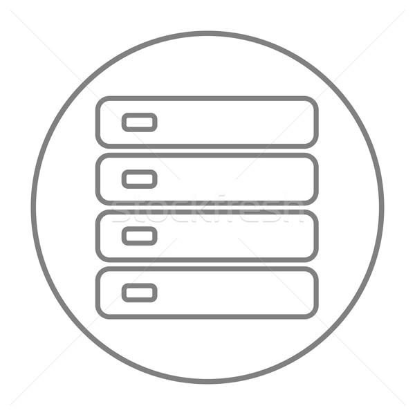 Computador servidor linha ícone teia móvel Foto stock © RAStudio