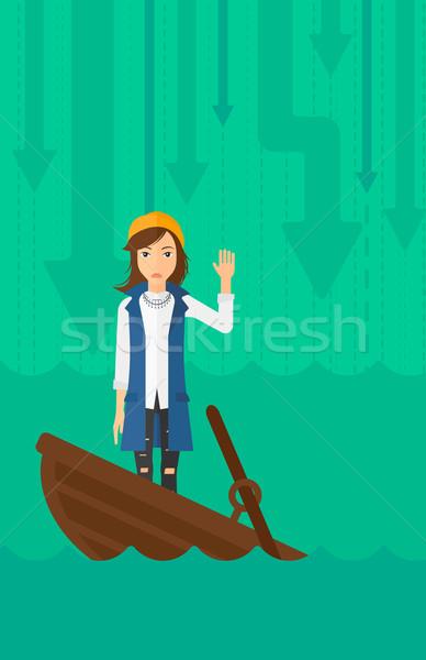 üzletasszony áll süllyed csónak ijedt kérdez Stock fotó © RAStudio