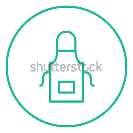 Konyha · kötény · vonal · ikon · sarkok · háló - vektorgrafika ...