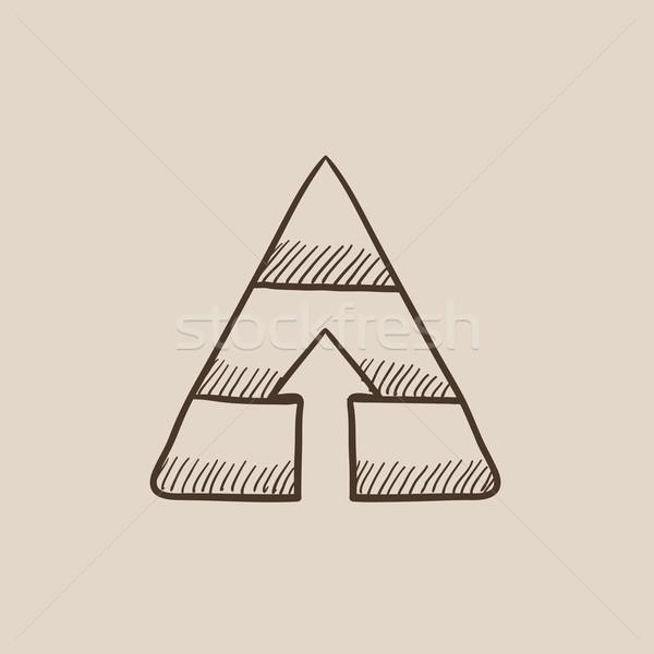Pyramid with arrow up sketch icon. Stock photo © RAStudio
