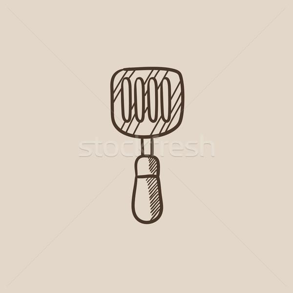 Stock photo: Kitchen spatula sketch icon.