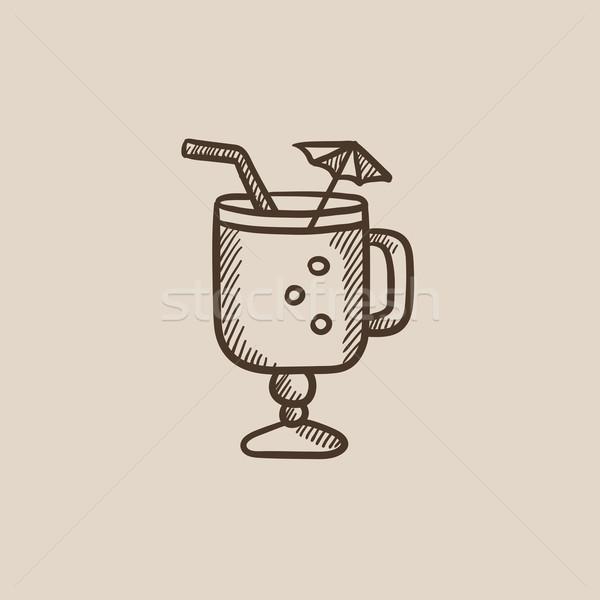 Glass with drinking straw and umbrella sketch icon. Stock photo © RAStudio
