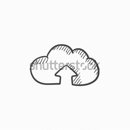 Felhő nyíl felfelé rajz ikon háló Stock fotó © RAStudio