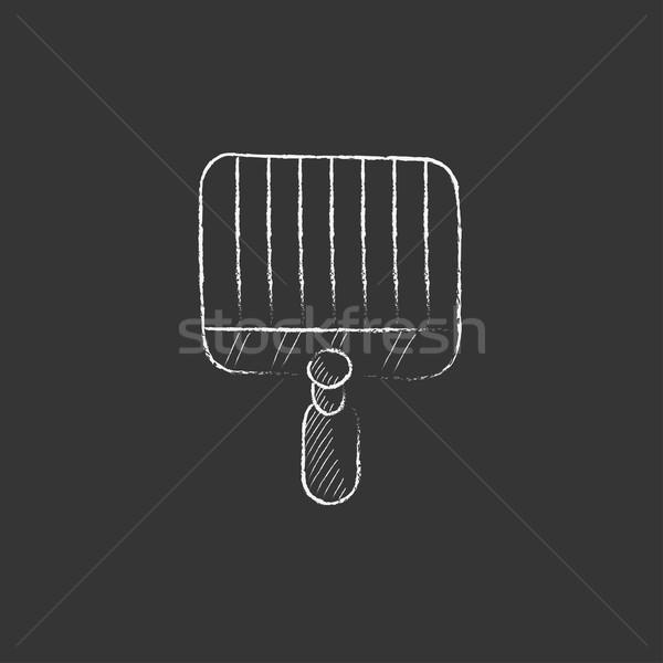 Empty barbecue grill grate. Drawn in chalk icon. Stock photo © RAStudio