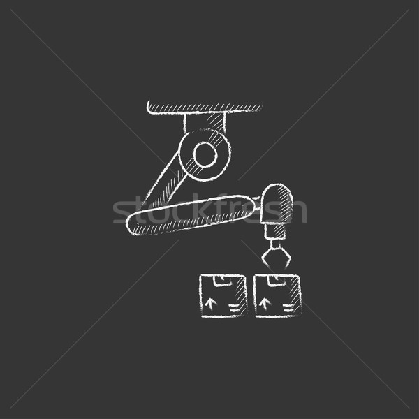 Robotic packaging. Drawn in chalk icon. Stock photo © RAStudio
