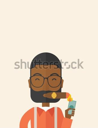 Homme tête désespérée séance table vecteur Photo stock © RAStudio