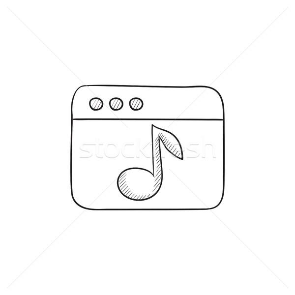 Tarayıcı pencere müzik dikkat kroki ikon Stok fotoğraf © RAStudio