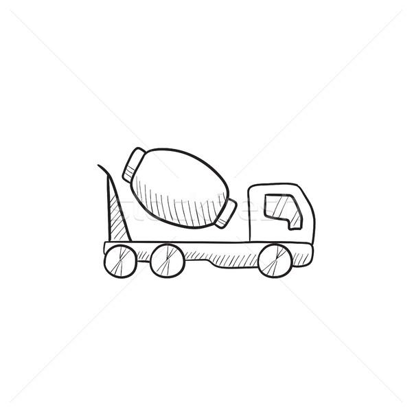 Beton mikser kamyon kroki ikon vektör Stok fotoğraf © RAStudio