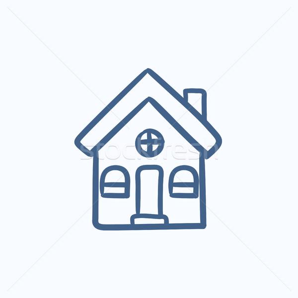 Maison individuelle croquis icône vecteur isolé dessinés à la main Photo stock © RAStudio