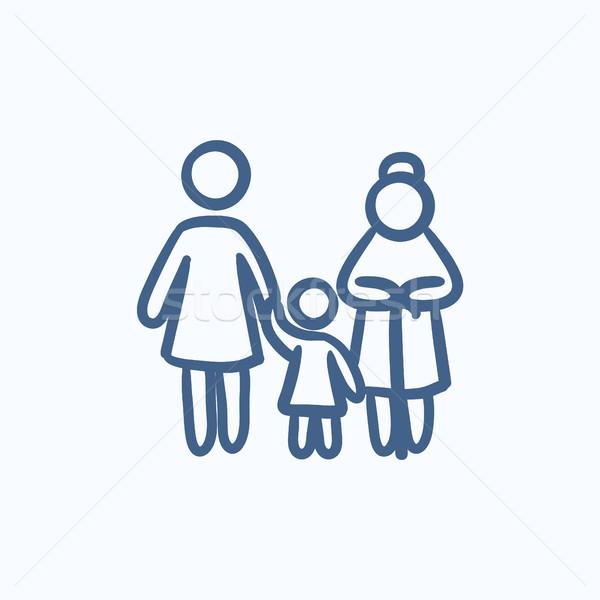 семьи эскиз икона вектора изолированный рисованной Сток-фото © RAStudio