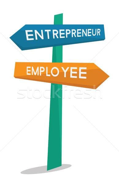 Employee and entrepreneur road sign. Stock photo © RAStudio