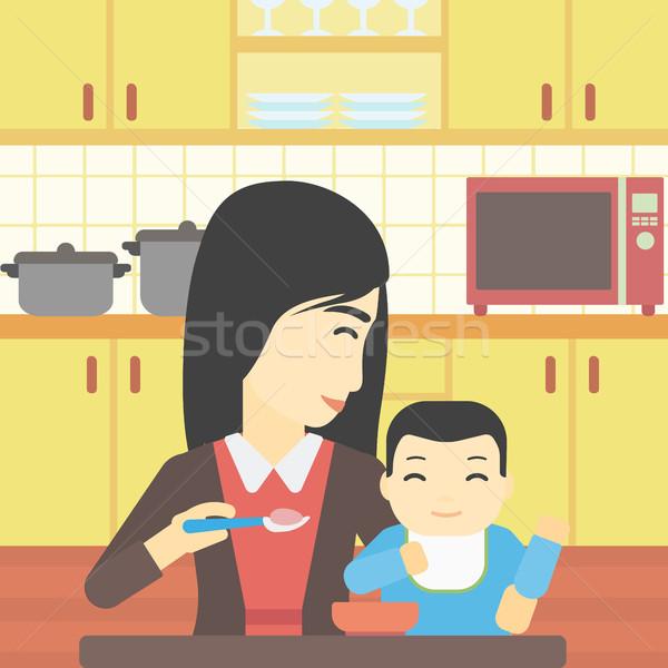 Mother feeding baby vector illustration. Stock photo © RAStudio