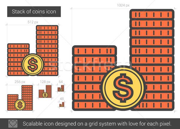 Stack of coins line icon. Stock photo © RAStudio