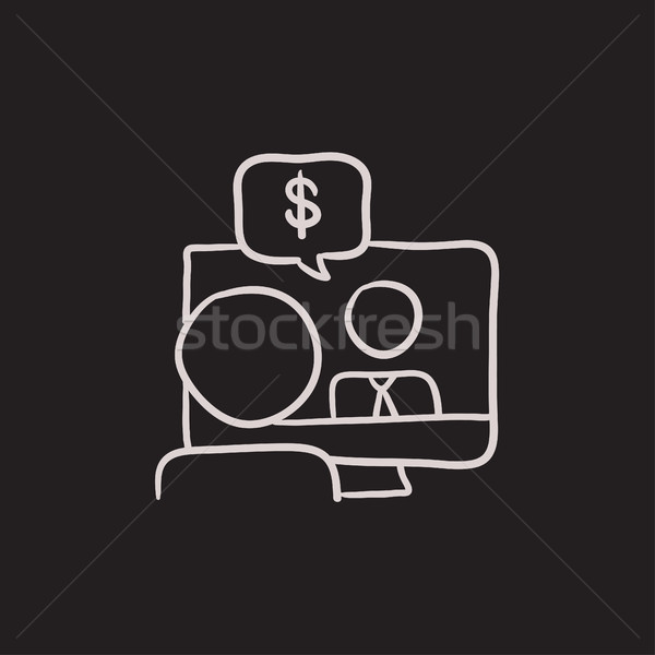 Business video onderhandelingen schets icon vector Stockfoto © RAStudio