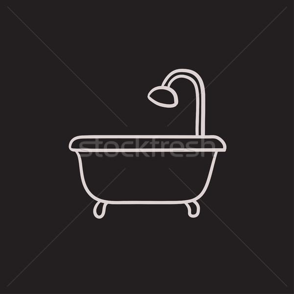 ванна душу эскиз икона вектора изолированный Сток-фото © RAStudio