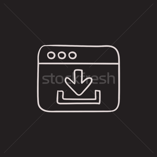 Browser venster downloaden teken schets icon Stockfoto © RAStudio