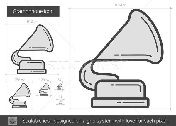 Gramofon vonal ikon vektor izolált fehér Stock fotó © RAStudio