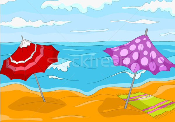 Karikatür tropikal plaj deniz yaz manzara Stok fotoğraf © RAStudio