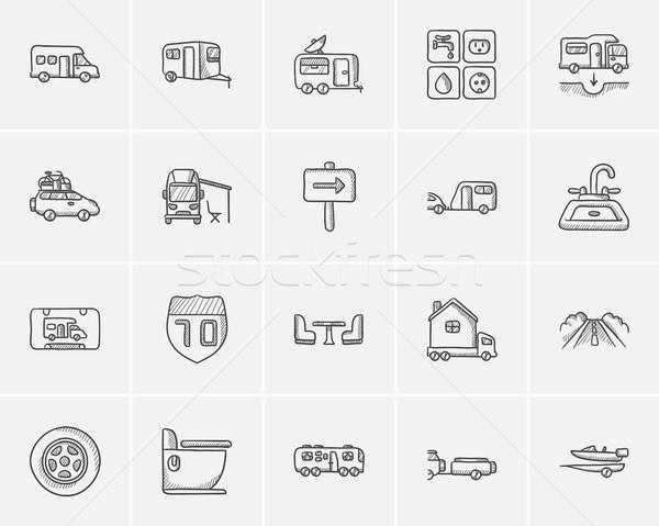 Travel and holiday sketch icon set. Stock photo © RAStudio