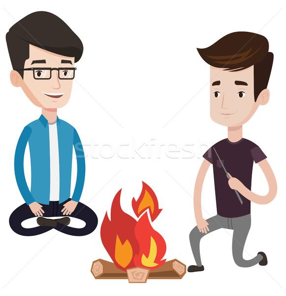 2 友達 座って 周りに たき火 幸せ ストックフォト © RAStudio