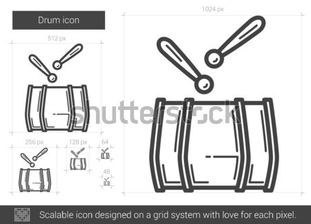 Trommel lijn icon vector geïsoleerd witte Stockfoto © RAStudio