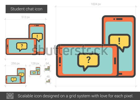 Stock photo: Student chat line icon.