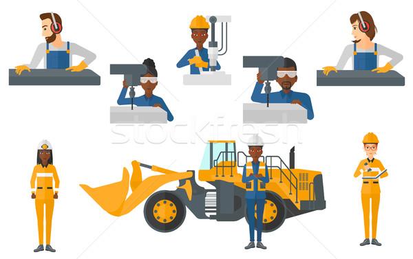 ベクトル セット 産業 労働 作業 訓練 ストックフォト © RAStudio
