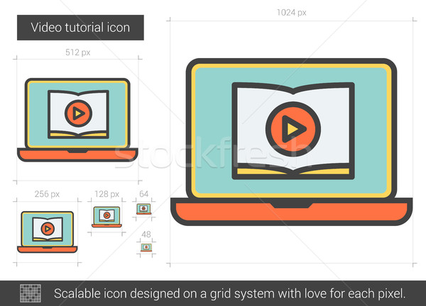 Video eğitimi hat ikon vektör yalıtılmış Stok fotoğraf © RAStudio