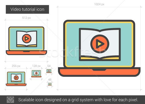 Video tutorial line icona vettore isolato Foto d'archivio © RAStudio