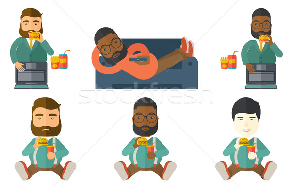 Businessman eating hamburger vector illustration. Stock photo © RAStudio
