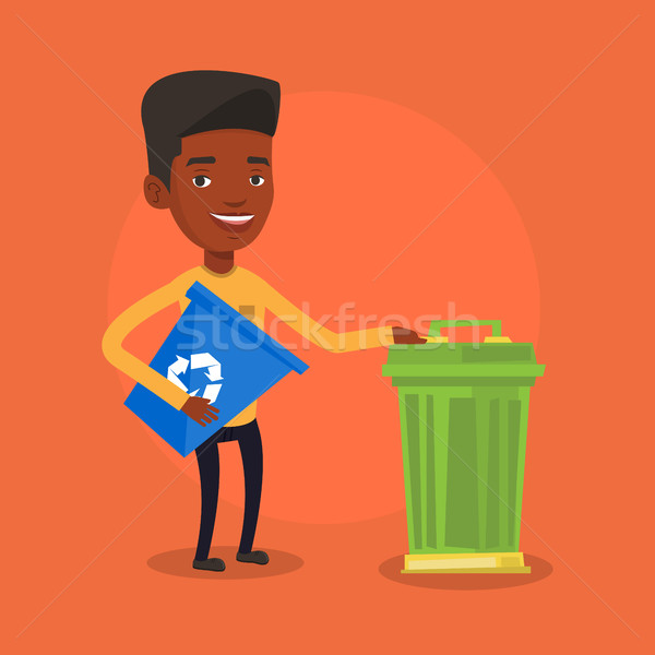 Man with recycle bin and trash can. Stock photo © RAStudio