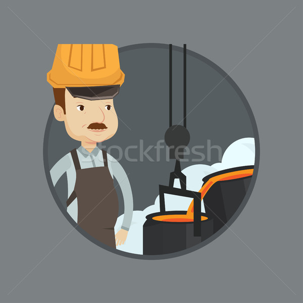 Steelworker in hardhat at work in the foundry. Stock photo © RAStudio