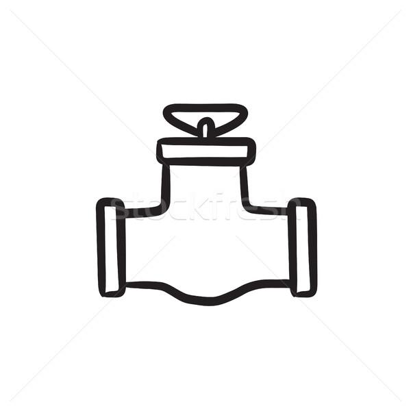 Gaz pipe vanne croquis icône vecteur Photo stock © RAStudio