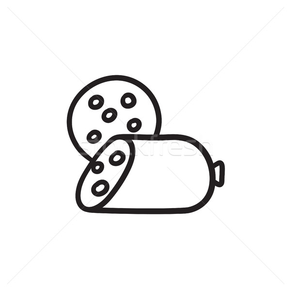 Sliced wurst sketch icon. Stock photo © RAStudio