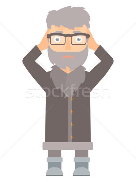 North man clutching his head vector illustration. Stock photo © RAStudio