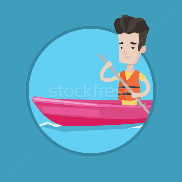 Сток-фото: человека · верховая · езда · байдарках · спортсмен · реке · молодые