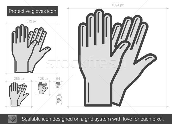 перчатки линия икона вектора изолированный белый Сток-фото © RAStudio
