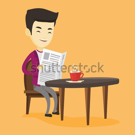 Woman reading newspaper and drinking coffee. Stock photo © RAStudio