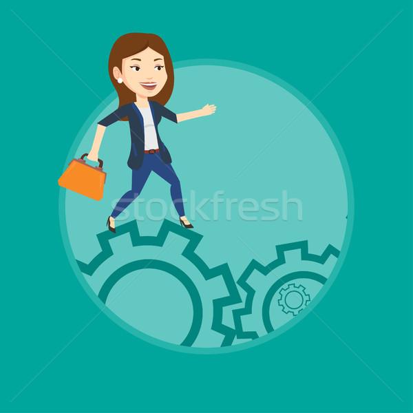 Stockfoto: Zakenvrouw · lopen · kaukasisch · succes · jonge