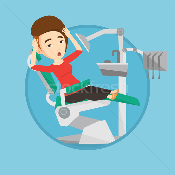 Scared patient in dental chair vector illustration Stock photo © RAStudio