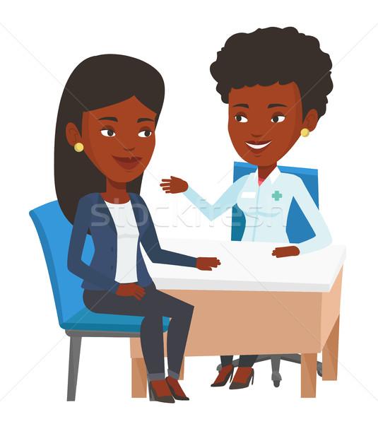 Arzt Beratung weiblichen Patienten Büro jungen Stock foto © RAStudio