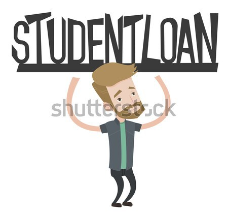 молодым человеком знак студент заем азиатских Сток-фото © RAStudio