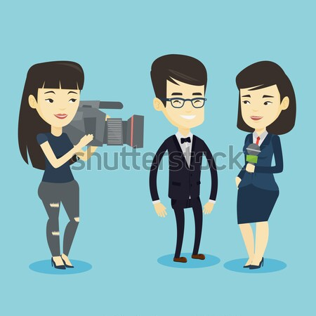 TV reporter and operator vector illustration. Stock photo © RAStudio