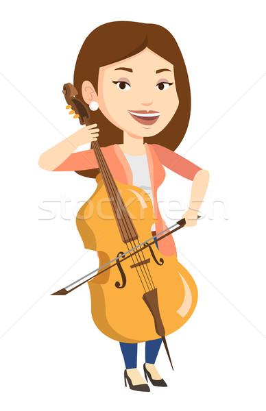 Femme jouer violoncelle jeunes heureux Photo stock © RAStudio