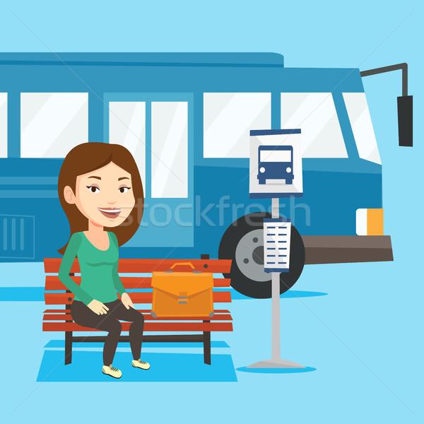 ビジネス女性 待って バス停 白人 ブリーフケース 小さな ストックフォト © RAStudio