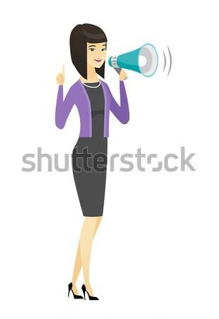 Caucásico empresario hablar altavoz anuncio Foto stock © RAStudio