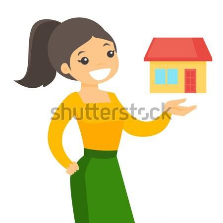 Vrouw kopen huis dank lening jonge Stockfoto © RAStudio