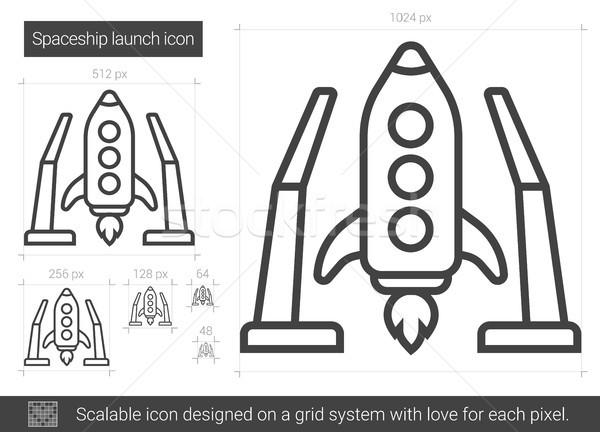 űrhajó indulás vonal ikon vektor izolált Stock fotó © RAStudio
