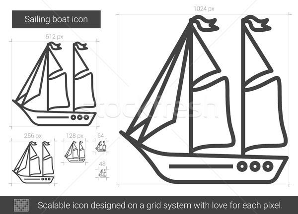 セーリング ボート 行 アイコン ベクトル 孤立した ストックフォト © RAStudio