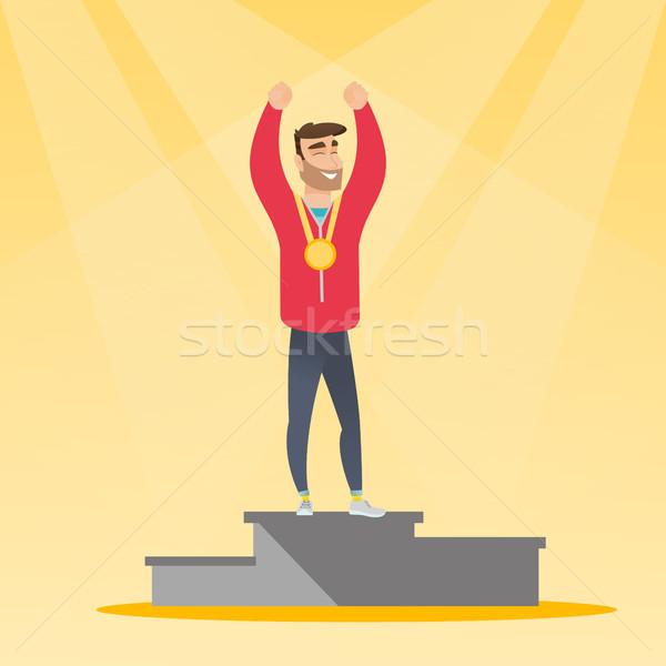 白人 スポーツマン 祝う 勝者 表彰台 小さな ストックフォト © RAStudio
